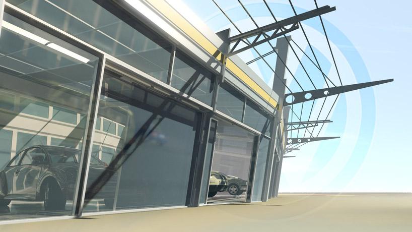 showroom dilersheap автосалон паркинг Архитектура здания 3d визуализация видео интерьер выставочных павильонов