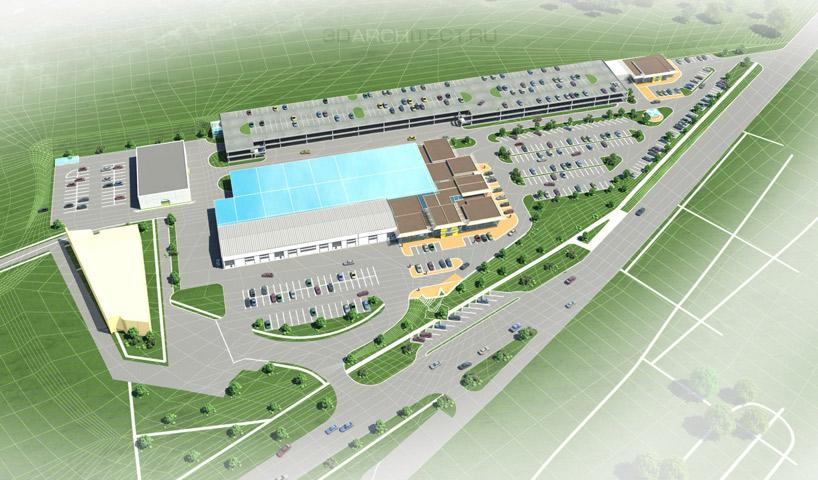 концепция 3D проект детальной планировки автосалон паркинг Архитектура здания 3d Проект освоения территории недвижимость видео