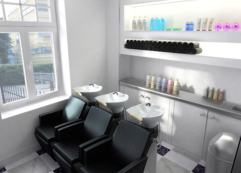 3d визуализация интерьера салона красоты, Освещение парикмахерского зала